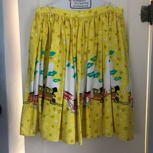 Mary Blair yellow trains Print Jenny skirt